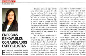 Artículo de nuestra Socia Claribel Medina sobre energías renovables en la revista Hablemos Claro