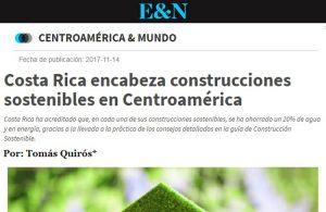 Artículo de nuestro Asociado Tomás Quirós sobre el liderazgo de Costa Rica en construcción sostenible