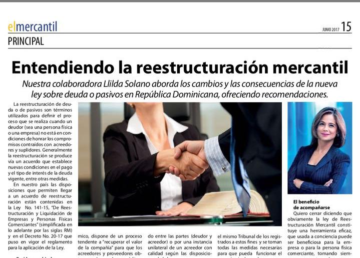 Artículo de nuestra Socia Llilda Solano en El Mercantil sobre reestructuración mercantil