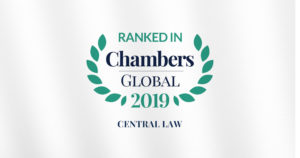 Chambers Global 2019 distinguishes CENTRAL LAW in 8 practice areas